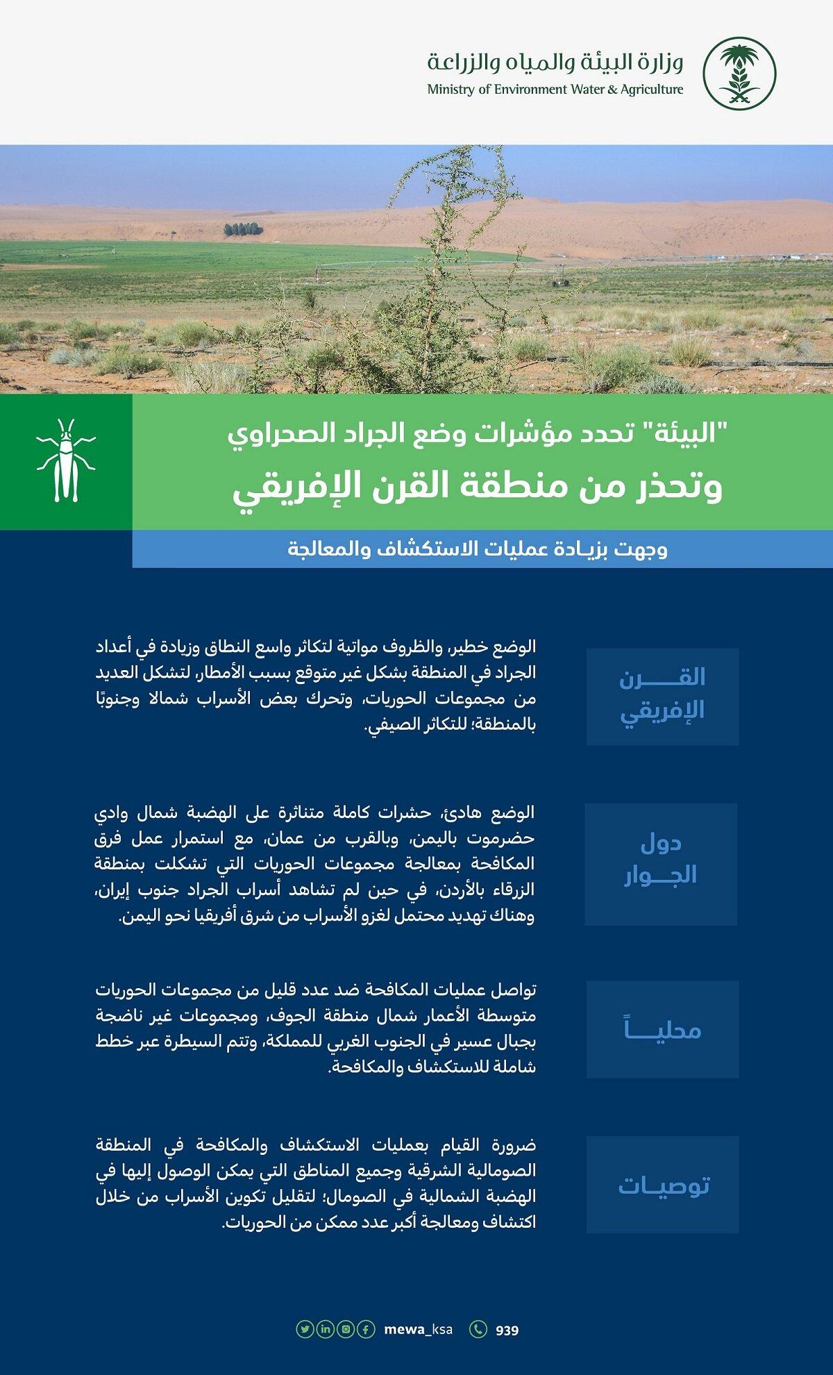 وزارة البيئة السعودية تحدد مؤشرات وضع الجراد الصحراوي
